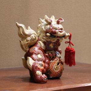九谷焼 6号剣獅子 赤盛B|hokusando|02