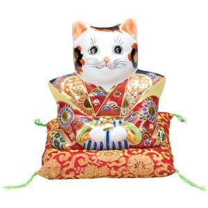 九谷焼 6号福助猫 盛(布団付)K5-1584[招き猫]