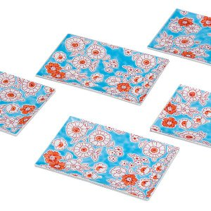 九谷焼 5号皿揃(長角皿5枚セット)フラワーシャワーK6-133  九谷焼銀ラベル(素地:日本、加飾...