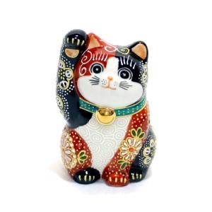 九谷焼招き猫(右手金運招き猫)3号赤黒華盛  素材:磁器 サイズ:幅6cm×奥行き6cm×高さ10c...