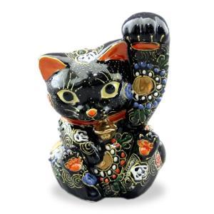 九谷焼 4.5号招き猫(左手人お客招き猫)太腕黒盛  素材:磁器 サイズ:幅10cm×奥行8cm×高...