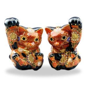 九谷焼ペア招き猫 4.5号太腕赤盛  素材:磁器 サイズ:幅10cm×奥行8cm×高さ13cm 箱:...