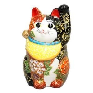 九谷焼招き猫(左手人お客招き猫)4.7号赤黒盛  素材:磁器 サイズ:幅8.5cm×奥行8cm×高さ...