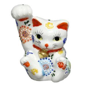 九谷焼招き猫(右手金運招き猫)4.5号太腕白盛  素材:磁器 サイズ:幅10cm×奥行8cm×高さ1...