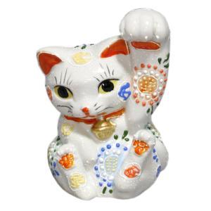 九谷焼招き猫(左手人お客招き猫)4.5号太腕白盛  素材:磁器 サイズ:幅10cm×奥行8cm×高さ...