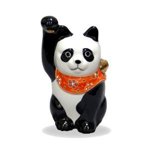 九谷焼招き猫(右手金運招き猫)4号パンダ  素材:磁器 サイズ:幅6.5cm×奥行6.5cm×高さ1...