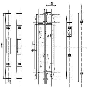 YKKAPビル部品 引戸錠(HH-2K-11644-5)|hokusei2