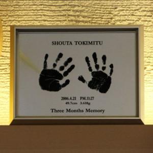 赤ちゃん手形足型メモリアル アルミ写真額キャビネ/ho-te-2|hokutoen