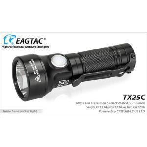 EagleTac TX25C XP-L HI V3 CW【CREE XP-L HI V3 Cool White 白色LED搭載 / CR123×1本 or CR123×2本 or RCR123A×2本 使用の延長チューブ付】イーグルタック holkin