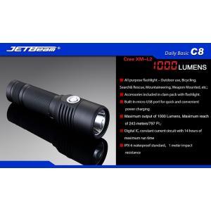JETBeam ジェットビーム C8 【Cree XM-L2 白色LED 搭載 / 明るさMAX:1000ルーメン / 使用電池:18650×1本 / USBダイレクト充電方式】