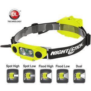 防爆LEDヘッドライト 【本体色:イエロー】 BAYCO NIGHTSTICK DICATA Intrinsically Safe Low-Profile Dual-Light Headlamp LEDヘッドライト|holkin
