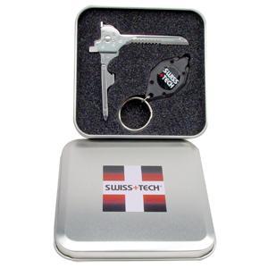 SwissTech Silver Utili-Key / Microlight in Gift Tin スイステック シルバーユーティリティーキーとマイクロライト ギフト缶入 S33337|holkin
