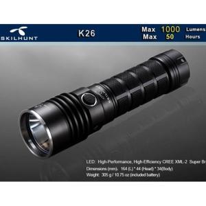 SKILHUNT K26 【CREE XM-L2 LED搭載 / 明るさMAX:1000ルーメン / 充電池:RCR26650 ×1本】|holkin