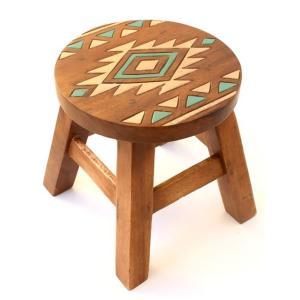 アジアン雑貨 家具 インテリア 木製ラウンドスツール 椅子(ネイティブ柄) ハワイアン雑貨  ハワイ 土産 お土産 おみやげの写真