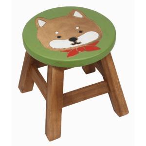 アジアン雑貨 家具 インテリア 木製ラウンドスツール 椅子(柴犬) ハワイアン雑貨 ハワイ お土産 ギフト おみやげ|holoholo