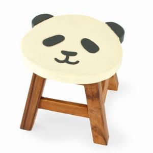 木製 椅子 イス 激安☆ラウンドスツール(パンダ柄) インテリア 家具 ハワイアン雑貨|holoholo
