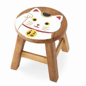 木製 椅子 イス インテリア 激安 家具☆木製 ラウンドスツール 椅子(招き猫/白) ハワイアン雑貨 アジアン雑貨|holoholo