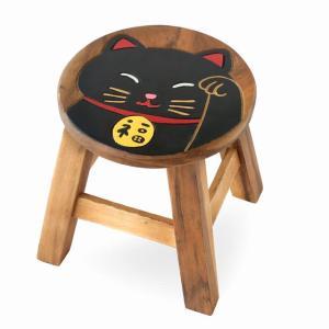 木製 椅子 イス インテリア 激安 家具☆木製 ラウンドスツール 椅子(招き猫/黒ネコ クロネコ) ハワイアン雑貨 アジアン雑貨|holoholo