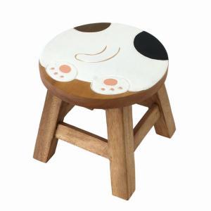 木製 椅子 イス インテリア 激安 家具☆木製 ラウンドスツール 椅子 おしりねこ(ミケネコ) ハワイアン雑貨 アジアン雑貨  ハワイ お土産|holoholo