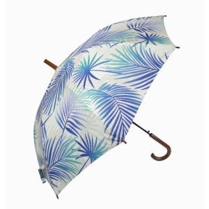 ハワイアン 傘  ハワイアン雑貨 Hula Lani フララニ ワンタッチ 雨傘 晴雨兼用 長傘 (リーフ ホワイト/ブルー) サーフブランド holoholo