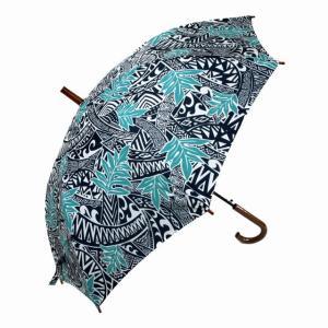 ハワイアン 傘  ハワイアン雑貨 Hula Lani フララニ ワンタッチ 雨傘 晴雨兼用 長傘 男女兼用(リーフ/ブルー) サーフブランド holoholo