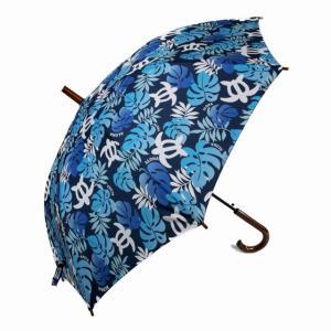 ハワイアン 傘  ハワイアン雑貨 Hula Lani フララニ ワンタッチ 雨傘 晴雨兼用 長傘(モンステラ&ホヌ ハワイ ネイビー) サーフブランド holoholo