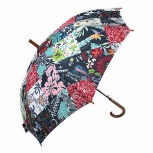 ハワイアン 傘  ハワイアン雑貨 Hula Lani フララニ ワンタッチ 雨傘 晴雨兼用 長傘(パッチワークミックス) ホヌ・ハイビスカス・リーフ サーフブランド holoholo