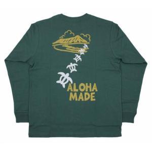 メンズ 長袖 Tシャツ ALOHA MADE アロハメイドロングTシャツ(メンズ/グリーン) 204MA1LT111メール便対応可 ハワイアン雑貨|holoholo