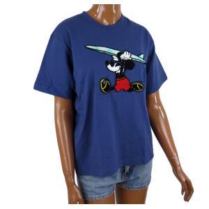 半袖 レディース Tシャツ ミッキーマウス ディズニー フララニ ハワイ サガラ刺繍 (ネイビー) サーフブランド ハワイアン雑貨|holoholo