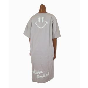 レディース 半袖 Tシャツ Hulalani フララニ スマイル ニコちゃん スマイリーアロハ 刺繍 ワンピース(レディース/ベージュ)  ハワイアン雑貨  サーフブランド|holoholo