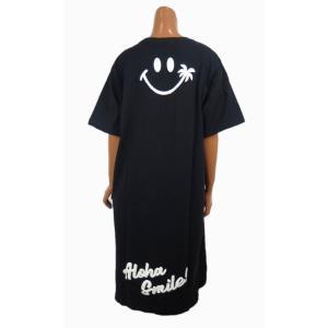 レディース 半袖 Tシャツ Hulalani フララニ スマイル ニコちゃん スマイリーアロハ 刺繍 ワンピース(レディース/ブラック)  ハワイアン雑貨  サーフブランド|holoholo