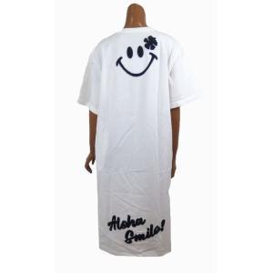 レディース 半袖 Tシャツ Hulalani フララニ スマイル ニコちゃん スマイリーアロハ 刺繍 ワンピース(レディース/ホワイト)  ハワイアン雑貨  サーフブランド|holoholo