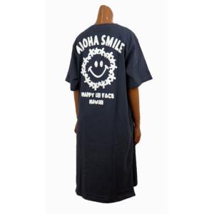 レディース 半袖 Tシャツ Hulalani フララニ スマイル ニコちゃん スマイリーアロハ 刺繍 ワンピース(レディース/チャコールグレー)212HU2OP005  ハワイアン雑貨|holoholo