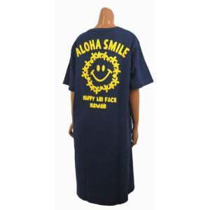 レディース 半袖 Tシャツ Hulalani フララニ スマイル ニコちゃん スマイリーアロハ 刺繍 ワンピース(レディース/ネイビー)212HU2OP005  ハワイアン雑貨|holoholo