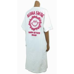 レディース 半袖 Tシャツ Hulalani フララニ スマイル ニコちゃん スマイリーアロハ 刺繍 ワンピース(レディース/ホワイト)212HU2OP005  ハワイアン雑貨|holoholo