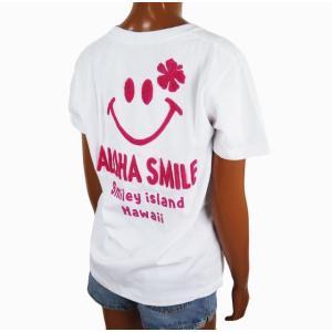 半袖 レディース Tシャツ Hulalani フララニ スマイル ニコちゃん スマイリーアロハ 刺繍 Tシャツ (レディース/ピンク) ハワイアン雑貨 サーフブランド|holoholo