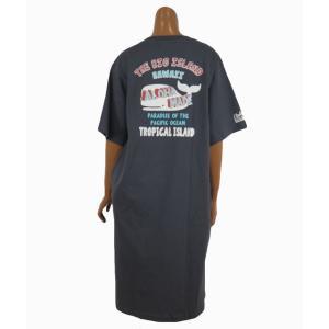 レディース Tシャツ 半袖 ハワイアン アロハメイド ワンピース(レディース/チャコールグレー)ハワイアン雑貨 212MA2OP016 ハワイアン雑貨 サーフブランド|holoholo