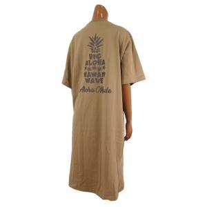 レディース Tシャツ 半袖 ハワイアン アロハメイド ワンピース(レディース/ベージュ)ハワイアン雑貨 212MA2OP017 サーフブランド|holoholo