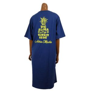 レディース Tシャツ 半袖 ハワイアン アロハメイド ワンピース(レディース/B.ネイビー)ハワイアン雑貨 212MA2OP017 サーフブランド|holoholo
