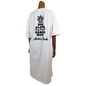 レディース Tシャツ 半袖 ハワイアン アロハメイド ワンピース(レディース/オフホワイト)ハワイアン雑貨 212MA2OP017 サーフブランド|holoholo