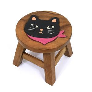 木製 椅子 イス インテリア 激安 家具☆木製 ラウンドスツール 椅子(スカーフネコ/クロネコ) ハワイアン雑貨 アジアン雑貨|holoholo