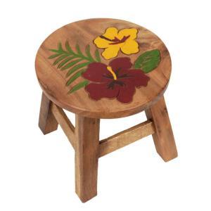 木製 椅子 イス インテリア 家具 ハワイアン雑貨 木製 ラウンドスツール 椅子(ハイビスカス) ハワイアン雑貨 ハワイ お土産 ハワイアン 雑貨 インテリア|holoholo