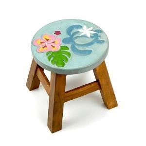 木製 椅子 イス ハワイアン雑貨 (ホヌ&ハイビスカス)インテリア ハワイ 雑貨 激安 ラウンドスツール|holoholo