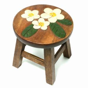 木製 椅子 イス ハワイアン雑貨 (プルメリア)インテリア ハワイ 雑貨 激安 ラウンドスツール|holoholo