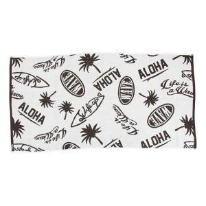 ハワイアン雑貨 ハワイアン 雑貨 ウェーブアロハ バスタオル(ホワイト) タオル 44IP0306 Kahiko  ハワイ holoholo