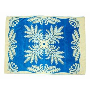 キャシーマム  ハワイアン タオルケット Kathy Mom アイランドスタイル ハワイアン雑貨 ハワイアン 雑貨(マウマウ/ブルー) ギフト 送料無料|holoholo