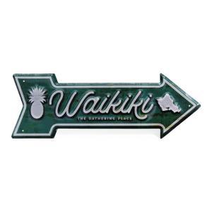 ハワイアン雑貨 インテリア ハワイアン 雑貨 ハワイアン ティンサイン(ワイキキ) メタル サインプレート ウォールサイン アンティーク ハワイアン雑貨|holoholo