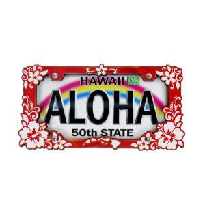 ハワイアン雑貨 マグネット 2D立体デザイン おしゃれマグネット ライセンスプレート(ハイビスカス) メール便対応可 磁石 冷蔵庫 ホワイトボード|holoholo