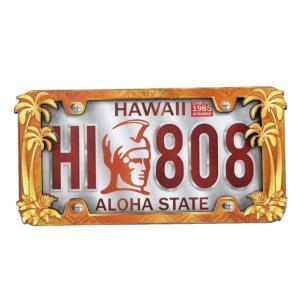 ハワイアン雑貨 マグネット 2D立体デザイン おしゃれマグネット ライセンスプレート(キングカメハメハ) メール便対応可 磁石 冷蔵庫 ホワイトボード|holoholo