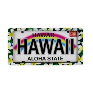 ハワイアン雑貨 マグネット 2D立体デザイン おしゃれマグネット ライセンスプレート(プルメリア) メール便対応可 磁石 冷蔵庫 ホワイトボード|holoholo